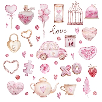 Dibujado a mano acuarela gran conjunto de corazones dulces, coche, pluma, cerradura, llave aislada sobre fondo blanco