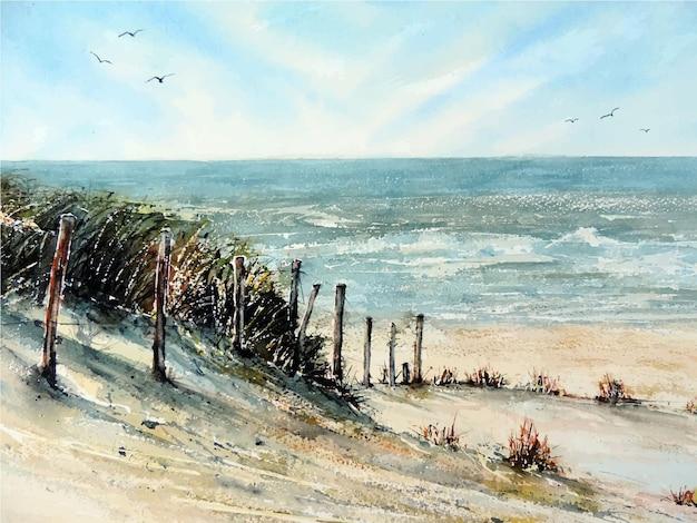 Dibujado a mano acuarela hermosa ilustración de mar