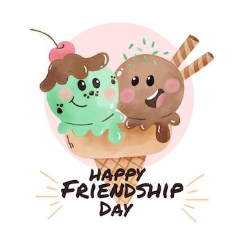 Dibujado a mano acuarela ilustración del día internacional de la amistad