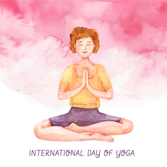 Dibujado a mano acuarela ilustración del día internacional del yoga