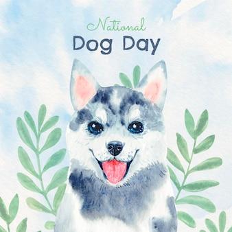 Dibujado a mano acuarela ilustración del día nacional del perro