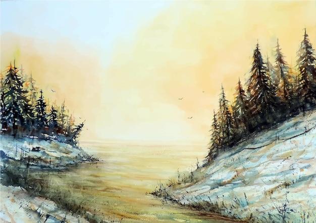Dibujado a mano acuarela lago hermosa naturaleza ilustración