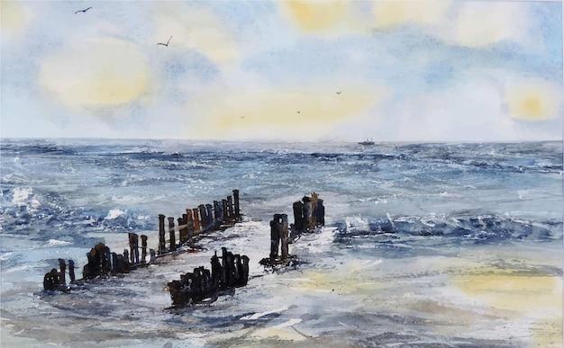 Dibujado a mano acuarela mar hermoso lago ilustración
