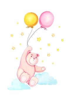 Dibujado a mano acuarela oso de dibujos animados lindo con el globo en el aire.