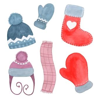 Dibujado a mano acuarela ropa de invierno sombrero, bufanda, calcetín y manopla aislado en blanco