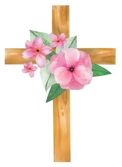 Dibujado a mano acuarela sagradas cruces de madera
