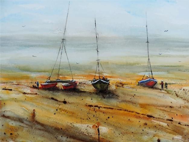 Dibujado a mano acuarela velero en el mar hermosa naturaleza ilustración