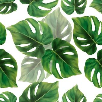 Dibujado a mano acuarela verde deja diseño de patrones sin fisuras