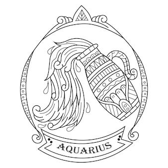 Dibujado a mano de acuario en estilo zentangle