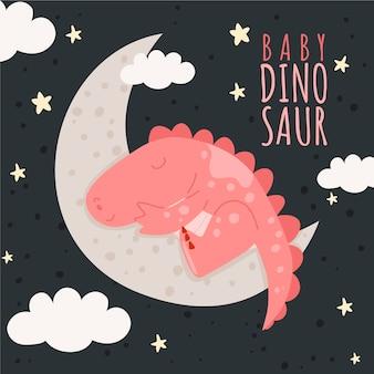 Dibujado a mano adorable bebé dinosaurio ilustrado