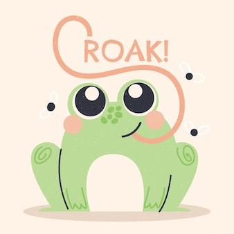 Dibujado a mano adorable ilustración de rana