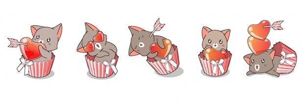 Dibujado a mano adorables personajes de gato dentro de la torta de la taza para el día de san valentín