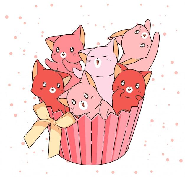 Dibujado a mano adorables personajes de gato en la torta de la taza con un arco