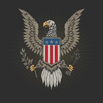Dibujado a mano águila veterano americano