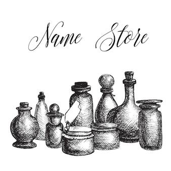 Dibujado a mano aislados frascos de vidrio vintage y set de botellas