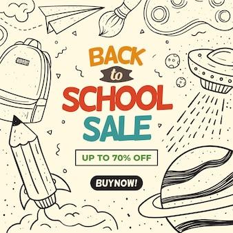 Dibujado a mano al concepto de ventas escolares