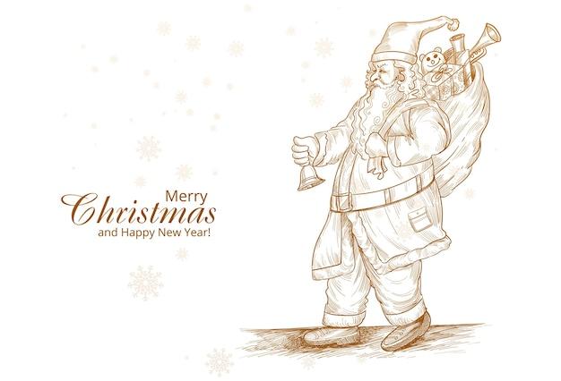 Dibujado a mano alegre tarjeta de dibujo de santa claus