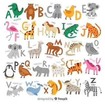 Dibujado a mano del alfabeto animal