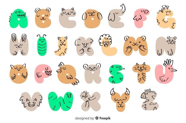 Dibujado a mano alfabeto animal
