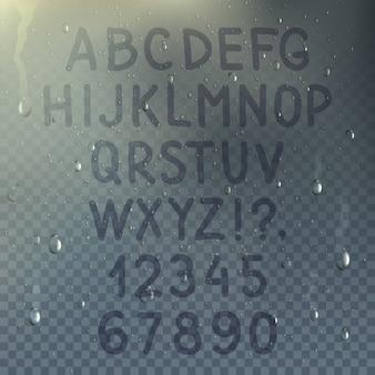 Dibujado a mano alfabeto transparente en la composición de vidrio empañado con gotas de lluvia en la ilustración de vector de ventana