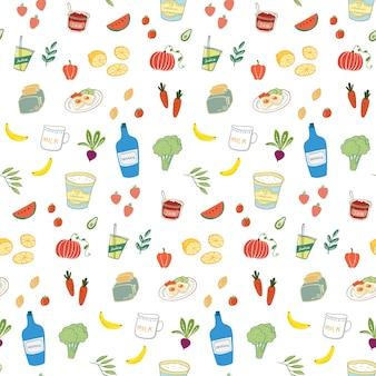 Dibujado a mano alimentos y bebidas de patrones sin fisuras