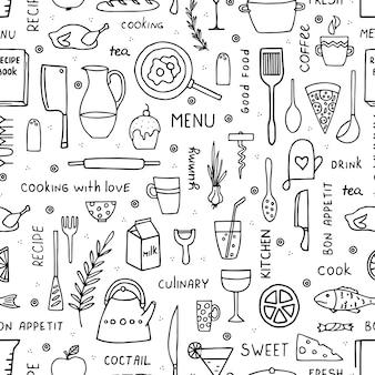 Dibujado a mano alimentos y utensilios de cocina de patrones sin fisuras en estilo doodle.