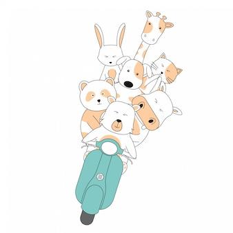 Dibujado a mano amistad paseo scooter juntos animales lindos dibujos animados