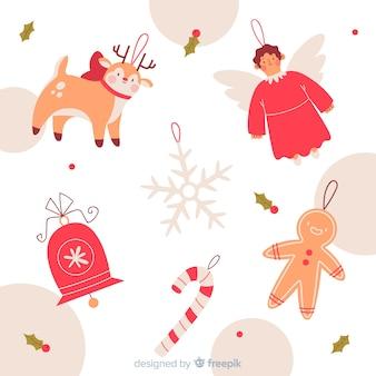 Dibujado a mano ángel renos y decoración de dulces