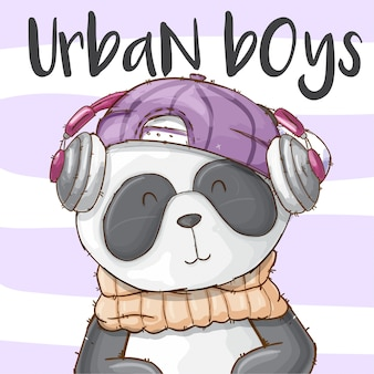 Dibujado a mano animal lindo panda-vector
