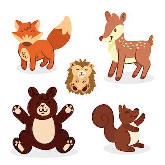 Dibujado a mano animales del bosque otoñal