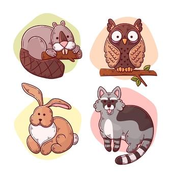 Dibujado a mano animales del bosque de otoño
