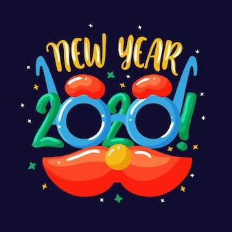 Dibujado a mano año nuevo 2020