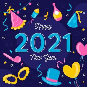 Dibujado a mano año nuevo 2021