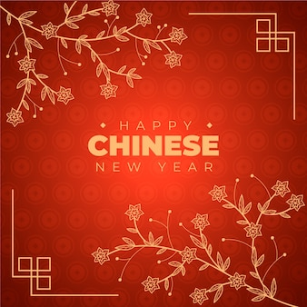 Dibujado a mano año nuevo chino con gradiente