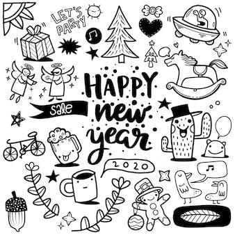 Dibujado a mano año nuevo doodle sobre fondo