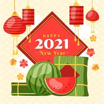 Dibujado a mano año nuevo vietnamita