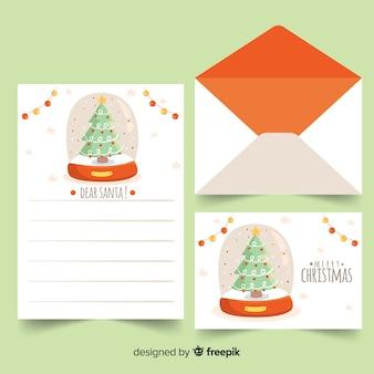 Dibujado a mano árbol de navidad en una carta
