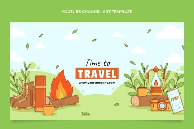 Dibujado a mano arte del canal de youtube de viajes