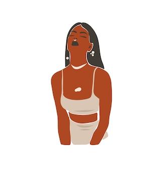 Dibujado a mano arte de línea contemporánea abstracta, ilustración de moda con retrato femenino moderno