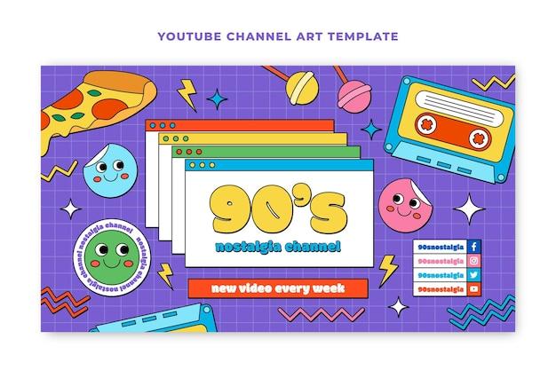 Dibujado a mano arte plano nostálgico del canal de youtube de los 90