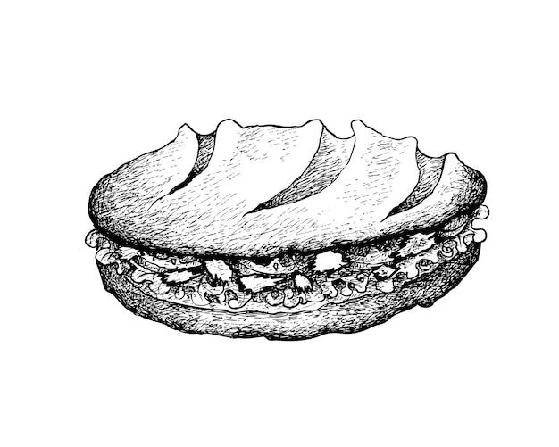 Dibujado a mano de baguette sandwich con ensalada de atún