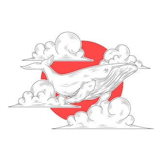 Dibujado a mano ballena en la ilustración de la nube