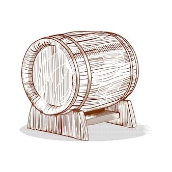 Dibujado a mano barril en estilo de grabado