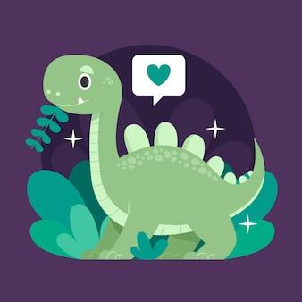 Dibujado a mano bebé dinosaurio ilustrado