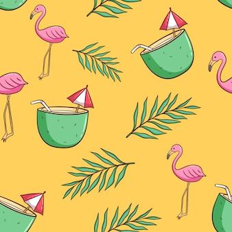 Dibujado a mano bebida de coco, flamenco y hojas de palmera de patrones sin fisuras