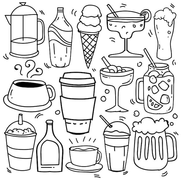 Dibujado a mano de bebidas en estilo doodle aislado sobre fondo blanco, vector dibujado a mano set tema de bebidas. ilustración vectorial