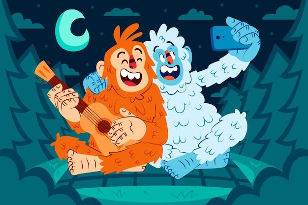 Dibujado a mano bigfoot sasquatch y yeti abominable muñeco de nieve ilustración