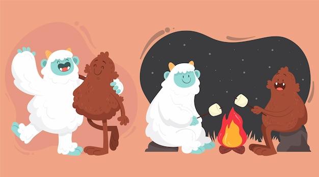 Dibujado a mano bigfoot sasquatch y yeti adominable ilustración de muñeco de nieve