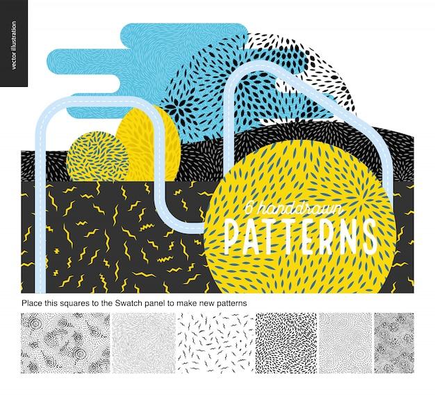 Dibujado a mano en blanco y negro 6 patrones establecidos