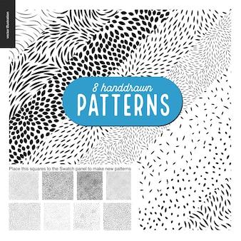 Dibujado a mano en blanco y negro 8 patrones establecidos